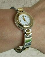 Ecclissi Sterling Silver 47 grs Round Case Two Tone Bracelet Watch New Battery
