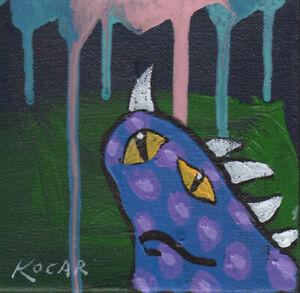 #3442-Wild creature monster paintings by Artist George Kocar Slanted eyes