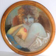 JEAN ERITZIANE-French Art Deco-Original Signed Pastel Tondo-Sensual Female