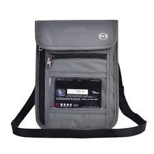 Grey RFID Blocking Neck Stash Pouch Passport Holder Security Travel Wallet JA