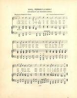 "UNIVERSITY OF PENNSYLVANIA Song Sheet 1901 ""Hail, Pennsylvania"" & ""Three Cheers"""