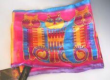 Laurel Burch LBS168 RAINBOW CAT COUSINS 100% Silk Scarf NWT