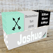 Personalised Wooden Name Birth Blocks Custom Made Feather Arrow