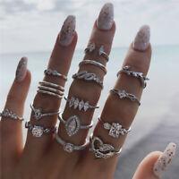 15 teiliges Ring Set Ringe Bohemian Indi Modeschmuck Glitzer Krone Love Schmuck