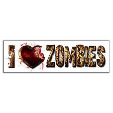 I Love Zombies Vinyl Decal Funny Walking Dead Bloody Heart Bite Bumper Sticker