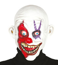 Smiling Killer Clown Horror Halloween Mask Red Nose Zombie Latex Costume Grin