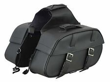 100% PU Leather Motorbike Saddle Bag Motorcycle Pannier Luggage Touring Cruiser