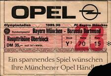 Ticket BL 89/90 FC Bayern München - Borussia Dortmund, Haupttribüne Oberblock