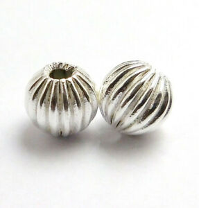 8 PCS 14MM CORRUGATED BEAD STERLING SILVER PLATED 540 UFL-305