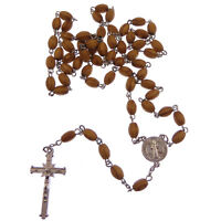 Wooden brown wood St. Benedict rosary beads on silver chain 54cm Catholic gift