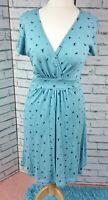 Fat Face Blue Summer Jersey Dress Swallow Print Size 14 Wrap Top Belt
