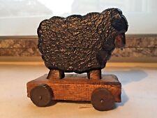 Jouet en bois pour enfant, mouton noir sur roulettes, cadeau, collection, Deco