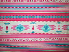 Navajo Native American Light Pink Teal Border Print Cotton Fabric BTHY