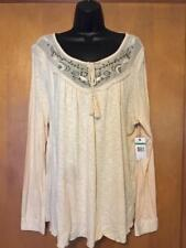 NINE WEST VINTAGE AMERICA COLLECTION BEIGE L/S PEASANT STYLE COTTON/RAYON TOP~LG