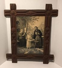 1910 print of The Holy Family in Very Large Tramp Art Frame
