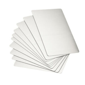 Blank Metal Card 88x53x0.4mm Stainless Steel Plate Silver Tone 10 Pcs