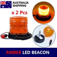 2x AMBER LED BEACON LAMP ROTATION STROBE EMERGENCY FLASHING WARNING LIGHT 12V24V