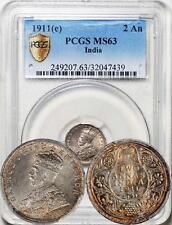 """British India 1911-C """"Pig"""" 2 Annas PCGS Secure Plus MS-63, Toning!"""