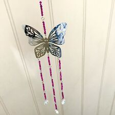 Crystal Glass & Stainless Steel Hanging Butterfly Suncatcher Mobile-60cm Pink