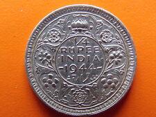 "George VI King Emperor 1/4 Rupee ""1944"" Lahore Mint Original Silver Coin"