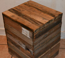 Reclaimed Barn Wood Cube Ottoman Table Modern Rustic Chic NYC Loft Removable Top