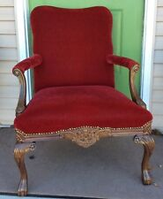 Red velvet library fireside arm chair cabriole legs ball claw Georgian Louis XV