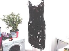 """press and bastyan"""" ladies black with embroidery silk eve dress sz 8"""