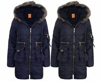 Ladies Womens Faux Fur Hooded Quilted Padded Long Sleeve Parka Coat Jacket 8-20