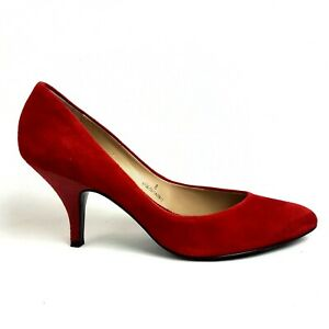 """Autograph Court Shoes UK 8 Red Suede Leather 2.75"""" Stiletto Heel"""