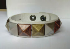 White Leather Silver/Copper/Brass Coloured Pyramid Shaped Stud  Wristband