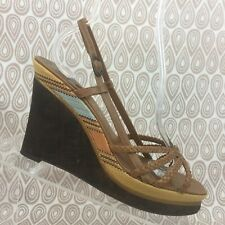 COLE HAAN Nike Air Womens SZ 7.5 Brown Leather Wedge Sandals Slingback Lot S291
