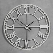 Huge Large 120cm Antique Cream White Skeleton Wall Clock Roman Numeral