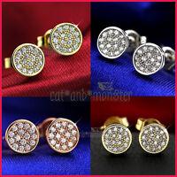 9K GOLD GF SIMULATED DIAMOND MENS WOMENS KIDS SMALL ROUND STUD EARRINGS JEWELRY