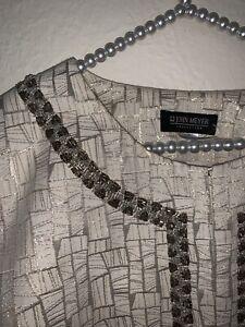 John Meyer Collection 26W Skirt Suit Jacket Euc Cream Metallic Gold Plus Size