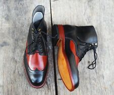Handmade Men's Ankle High Leather Lace Up Boots, Men's Black Brown Wing Tip Boot