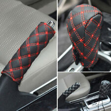 Red Car Faux Leather Gear Shift Knob Cover Hand Brake Cover Sleeve 2 in 1 Set Ni
