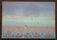 Carte postale Le champ rose,Laetitia,peinture naive ,postcard