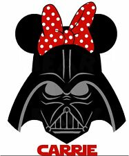 DISNEY MINNIE MOUSE STAR WARS DARTH VADER  PERSONALIZED T-SHIRT IRON ON TRANSFER