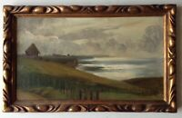 Tableau ancien Impressionniste Marine Soleil Couchant Huile signée c1910