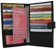 Long Genuine Leather 20 Slots Credit Card Holder with Hide Money Tall Wallet