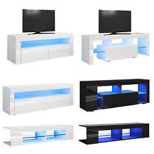 TV Schrank Lowboard Unterschrank LED Weiß Hochglanz/Schwarz Fernsehschrank