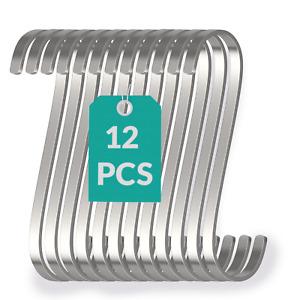 11cm S-Haken 12Stk Flach Edelstahl Fleischer Küchen Universal Metall Haken