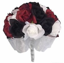 Red, White and Black Silk Rose (24 Roses) - Silk Wedding Bridal Bouquet