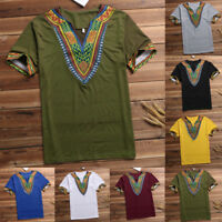 Men African Dashiki V Neck Tee Shirt Loose Hippie Tribal Kaftan Mexican Boho Top