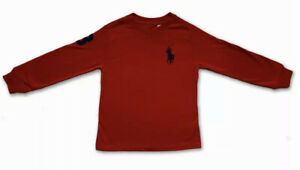 New Polo Ralph Lauren Long Sleeve T Shirt Top Red Big Pony L/G Age 14-16 160
