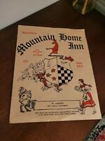 Vtg Mountain Home Inn Mill Valley CA Complete Menu 1940s or 1950s Mt. Tampalis