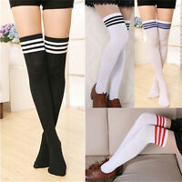 Over The Knee Thigh High Cotton Socks Stockings Leggings Women Ladies Girls hc