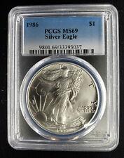 1986 American Silver Eagle $1 Pcgs Ms69