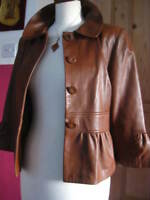 Ladies M&S brown tan real leather JACKET COAT UK 10 LIMITED COLLECTION blouson