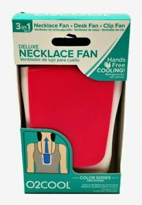 O2COOL DELUXE 3 IN 1 PERSONAL HANDS FREE NECKLACE FAN! ~ RED, BLUE AND PURPLE!